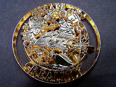 1991 Diana ESCAPE FROM REALITY Two-Tone Bronze Cut-Out Mardi Gras Doubloon