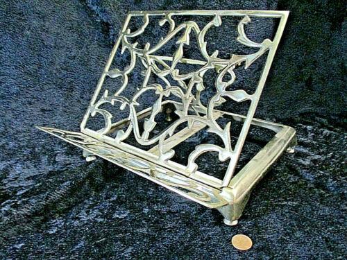 Vtg Solid Brass Book Easel Stand Holder Adjustable Tabletop Bible Music Recipe