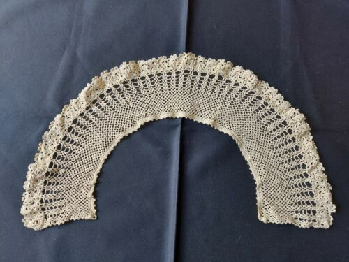 Beautiful Vintage VICTORIAN Handmade Crocheted Lace Collar 100% Cotton Beige