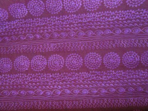 Maroon Fuchsia purple Embroidered BOHO stripe Upholstery Fabric BTYARD