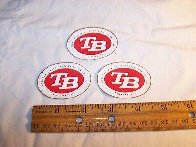 3 Vintage TOUSLEY BIXLER CONSTRUCTION CO INC Stickers INDIANAPOLIS Indiana