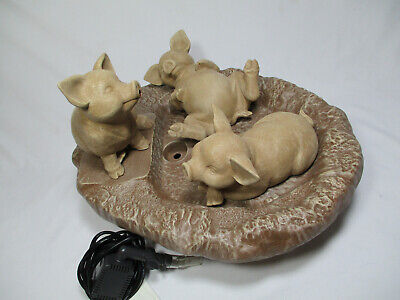 """Vintage Terra Cotta Creations 3 Pigs Water Fountain With Pump 16""""x11"""""""