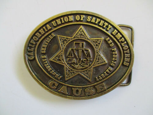 vintage 1982 California Union of Safety Employees CAUSE Police Belt Buckle