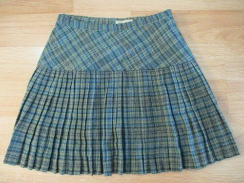 """Vintage 60s Miss Pat mini green plaid pleated Wrap around waist 26"""" Skirt"""