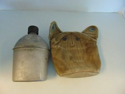 Vintage WWII (1945) Vollrath metal US canteen with canvas snap cover  # 5