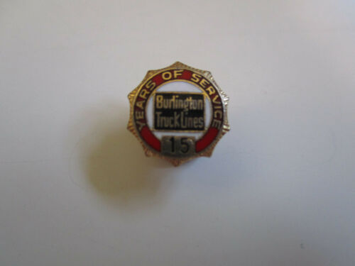 Burlington 15 yr Service Safe Driver Award Trucker Trucking Truck Pin