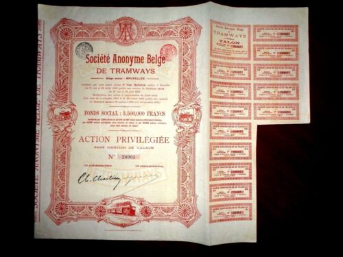 Belge de Tramways  share certificate Belgium 1912