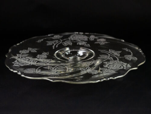"""Heisey Rose Etch Cake Stand w Rum Well, Vintage Elegant Etched 14"""" Footed Plate"""