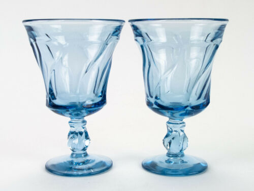 "Fostoria Jamestown Light Blue Goblets 2 pc Set, Vintage 5 7/8"" Water Wine Glass"