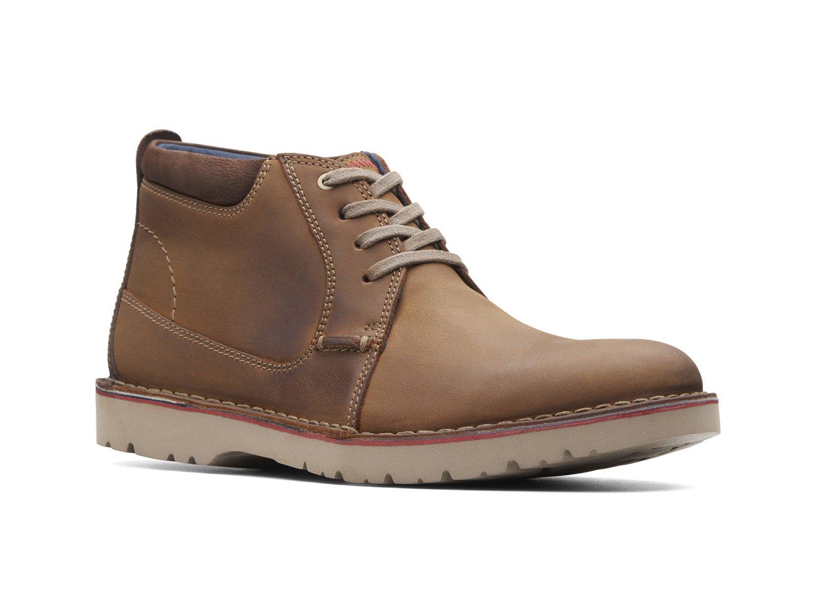 Clarks Vargo Mid Chukka Boots Dark Tan Leather Shoes Men's S