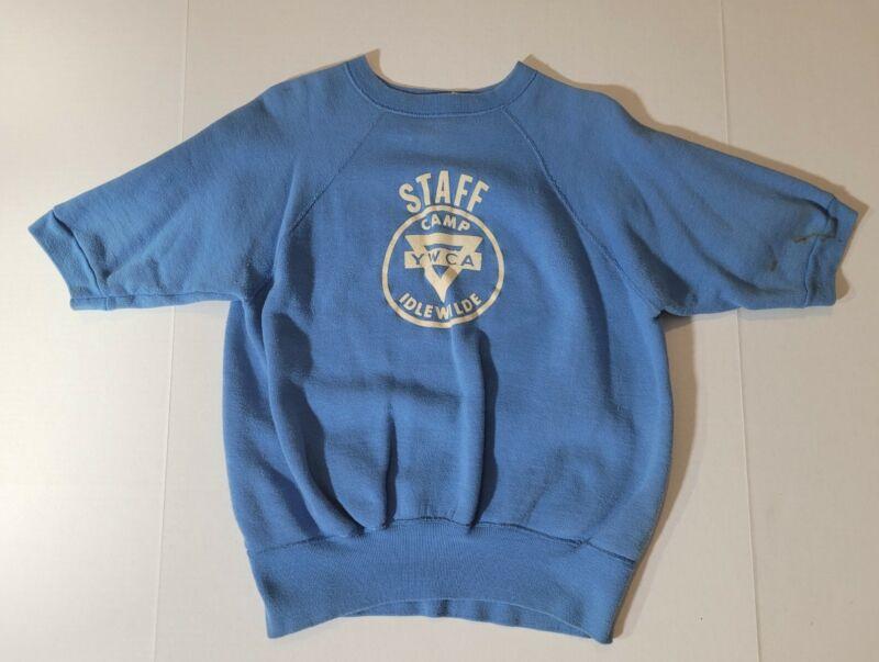 Vintage 1960s-70s YMCA Camp Idlewilde Staff Short Sleeves Sweatshirt Sz L USA