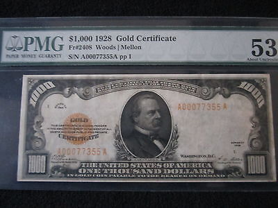 Click now to see the BUY IT NOW Price! 1928 $1000 GOLD CERTIFICATE PMG 53 EPQ FR.2048 1 OF FINEST KNOWN  EPQ!