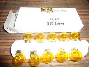 Lot : boite 10 ampoules jaunes avant 6volt 6w Solex Motobecane Peugeot Mobylette - France - État : Neuf: Objet neuf et intact, n'ayant jamais servi, non ouvert, vendu dans son emballage d'origine (lorsqu'il y en a un). L'emballage doit tre le mme que celui de l'objet vendu en magasin, sauf si l'objet a été emballé par le fabricant d - France