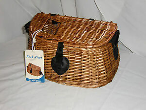 WILLOW WICKER FISH CREEL WOOD NATURAL FLY FISHING DECORATION BASKET NEW