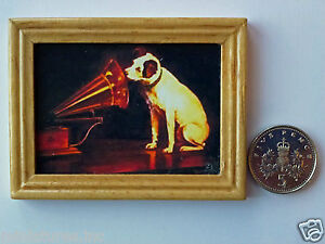 DOLLS-HOUSE-MINIATURE-PICTURE-HMV-Dog-Gramophone-Wood-Frame-1-12th-scale