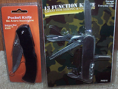 13 Function Swiss Type Knife And Pocket Knife- 2 Knife Set + Bonus