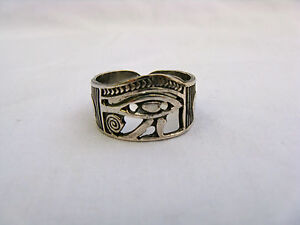 Egyptian Sterling Silver Eye Of Horus W/Ankh Ring