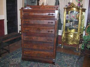 antique-burl-walnut-sidelock-side-lock-dresser-with-gallery-and-ornate-pulls-wow