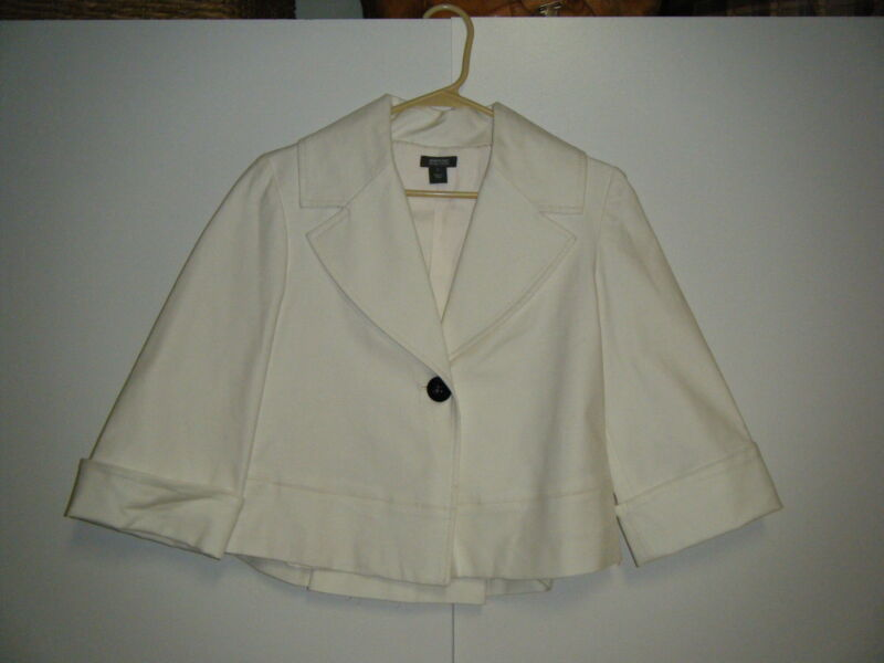 WOMENS KENNETH COLE WINTER WHITE JACKET WITH BLACK BUTTONS COTTON SPANDEX SZ 2