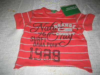 Baby Boys United Colors Of Benetton Short Sleeve T Shirt Red 9/12 Months