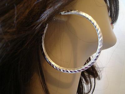 Large Hoop Earrings Silver Tone Hoop Earrings Lightweight Stripe Design 2.75 In