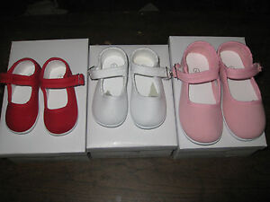 MARY-JANES-CANVAS-SHOES-RED-OR-PINK-OR-WHITE-Girls-Infant-Toddler-Sz-1-to-10-NEW