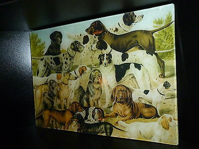 DOG Swot DOGS CANINE DECOUPAGE GLASS TRAY NEW Manual labourer CRAFTED USA