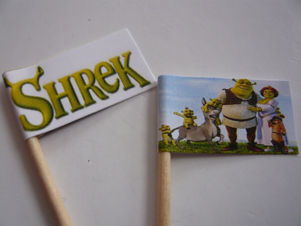 20 Cupcake Flags Toppers Shrek Childrens Birthday Party