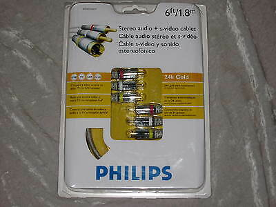 6 Ft. Philips S Video Stereo Audio Cable Tv A/v Dvd Tv Satellite Receiver