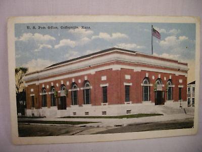 Vintage Postcard U S  Post Office Coffeyville Kansas Liberty Bond Stamp 1917
