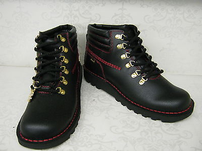Mens Kickers Kh Hike Perf Black/red Leather Lace Up Ankle Boots
