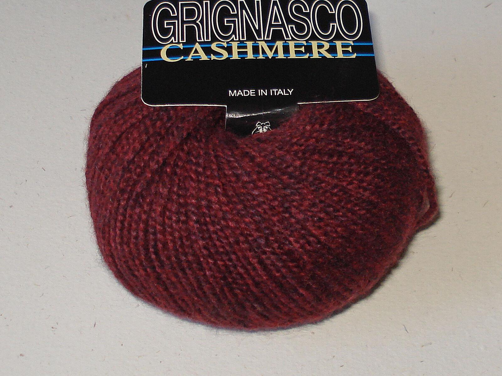 Grignasco 100% Fine Italian Cashmere Yarn Deep Heathered Red Wine Singles