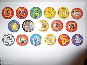 POKEMON-POGS-TAZOS-CARDS-RARE-3-SETS-OF-17-DIFFERENT-TAZOS-51-ALTOGETHER
