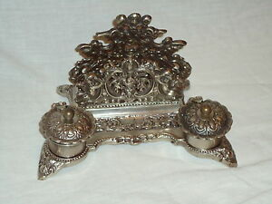 Victorian Style Inkwell Letter Rack Antique Silver Very Ornate - Ink Well- Desk