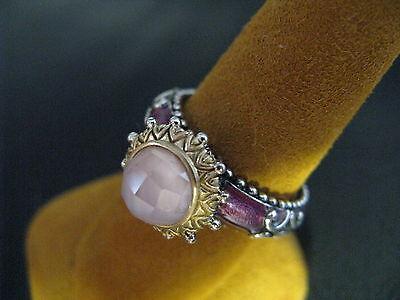 Barbara Bixby Enamel Mop Crystal Quartz Ring Ss 18k Size 7 Designer Gift