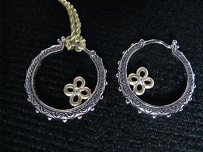 Barbara Bixby Flower Hoop Earrings Diamond Ss 18k Couture Gift Designer