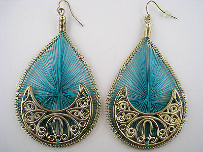 Vintage Style Dangling Teal Thread Woven Earrings
