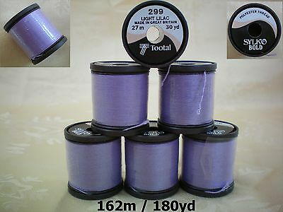 Sylko Polyester Thread Light Lilac No. 299 Purple 6 Reels 180 Yards 162 mtr BN