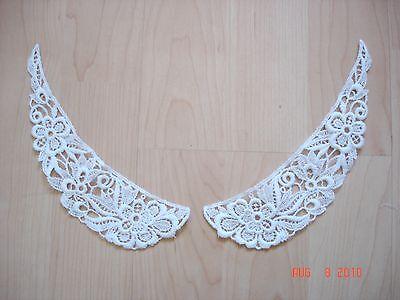 """2 pc (1 pair) x NEW Venise Lace Applique 7.5"""" Flower PETER PAN Collar Trim WHITE"""