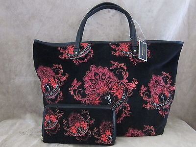 Juicy Couture Pammy Black Pink Shopper Purse Handbag & Matching Wallet