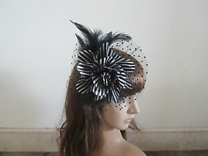 Black-White-Wedding-Feather-Hair-Fascinator-Clip-Corsage-Brooch-Fascinators