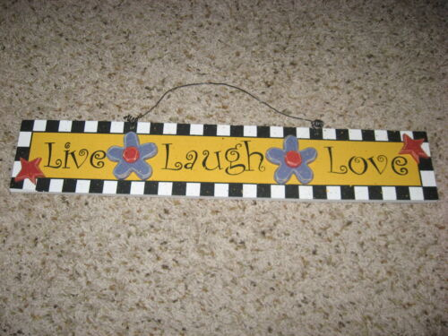 Painted  Wooden Life Laugh Love Wall Hanging EUC