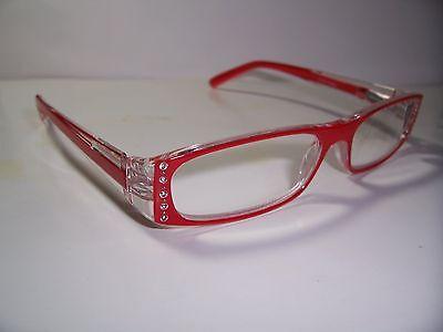 1.25 Reading Glasses Clear 125 Full Magnification Spring Hinge Rhinestone Salmon