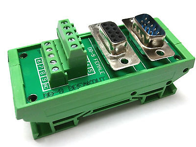 New DB9 D Sub Din Rail Mount Breakout Board Male / Female Connectors Serial CNC on Rummage
