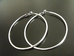 Large 2 1/4 Inch Polished Hoop Earrings  Stamped 925 Sterling Silver