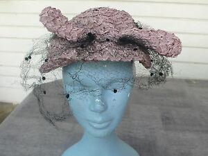 ancien chapeau de femme avec voilette en rafia rose vintage ebay. Black Bedroom Furniture Sets. Home Design Ideas