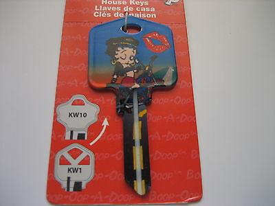 Betty Boop biker Betty Key Kwikset Kw1 House Key Blank /