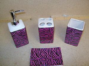 4pcs Bath Accessory Set Sexy Pink Zebra Print Bathroom