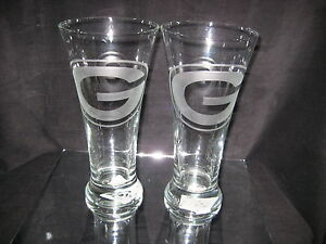 GREEN-BAY-PACKERS-2-ETCHED-LOGO-PILSNER-20ozGLASSES-NEW
