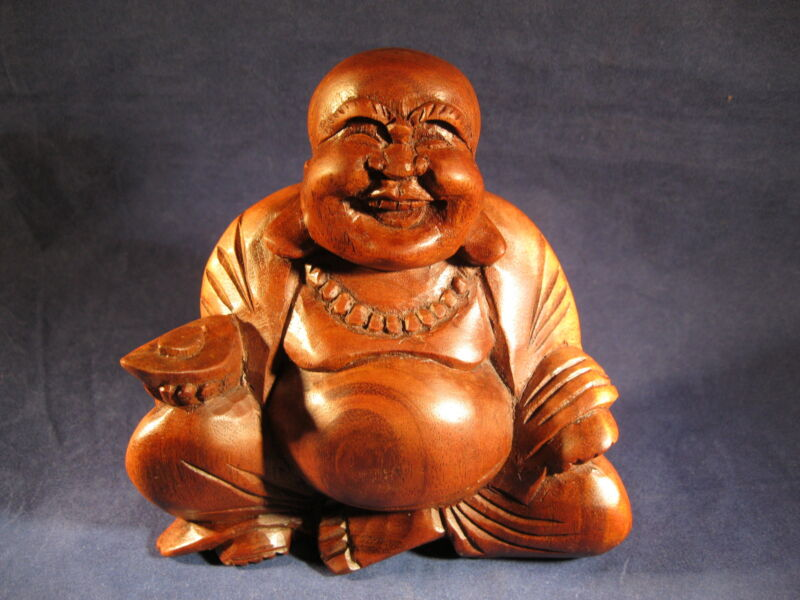 Laughing Buddha Hand Carved Wood from Bali item BL
